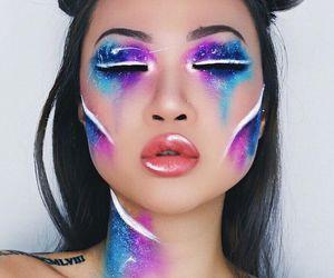 makeup, galaxy, and Halloween image