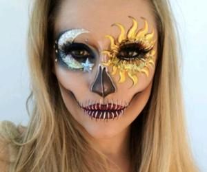 Halloween, makeup, and moon image