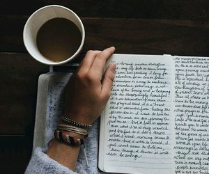 book, coffee, and writing image