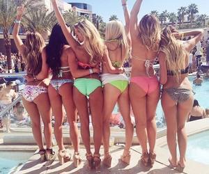 beach, bikinis, and pool party image