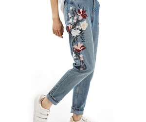 clothes, jeans, and embroidered image