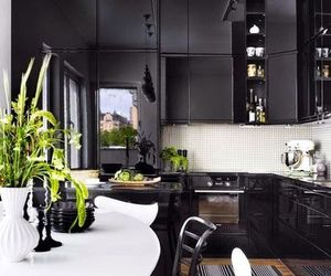 kitchen, black, and interior image