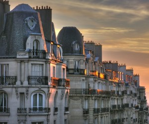 paris, building, and sunset image