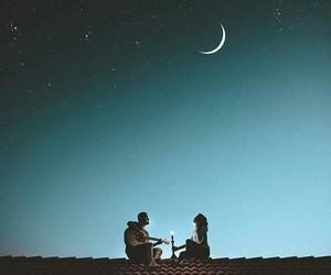 love, moon, and night image