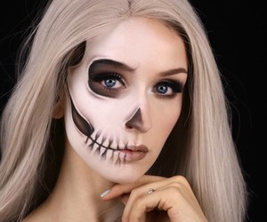 black and white, Halloween, and make up image