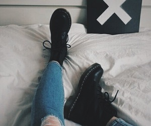 grunge fashion, aesthetic style, and black combat boots image