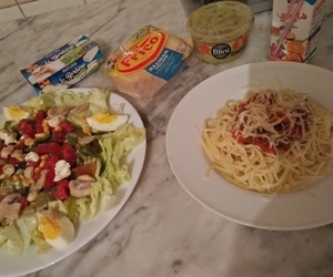 cheese, spaghetti, and food image