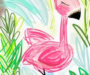draw, flamingo, and illustration image