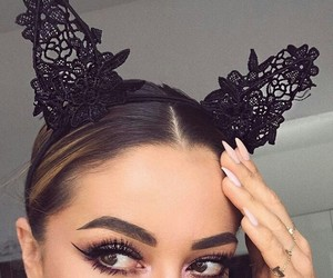 black, cat ears, and girl image