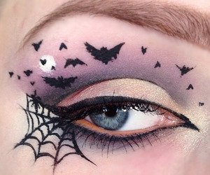 Halloween, makeup, and bats image
