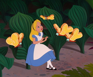 alice in wonderland, alice, and butterfly image