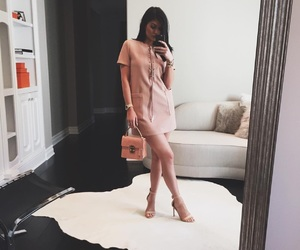 classy, pink dress, and style image