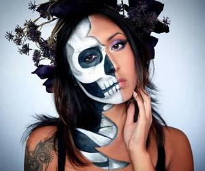 candy skull, skull makeup, and costume idea image