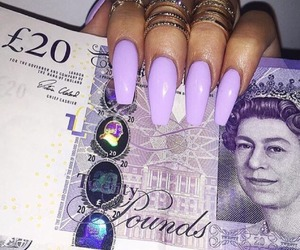 nails, money, and purple image