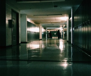 black, dark, and hallway image