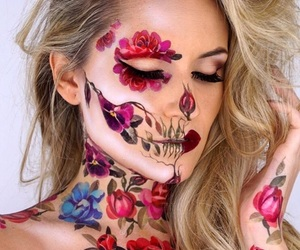 Halloween, makeup, and flowers image
