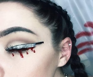Halloween, knife, and makeup image