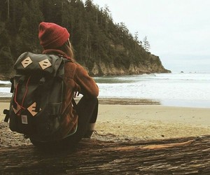 girl, travel, and backpack image