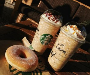 coffee, donuts, and starbucks image