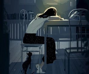 cat, girl, and alone image