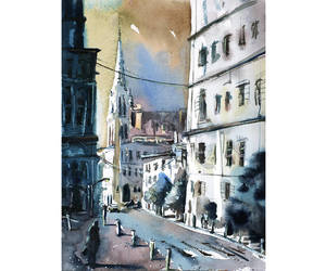 cityscape, painting, and street scene image