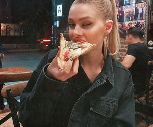 girl, pizza, and blonde image