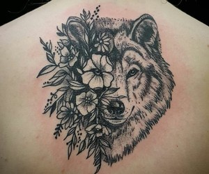 flowers and wolf image