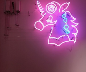 pink, neon, and unicorn image