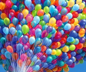 up, balloons, and colors image