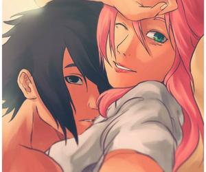 anime, bed, and hug image