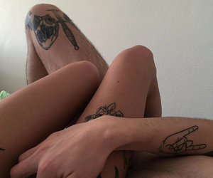 beautiful, tattoo, and bed image