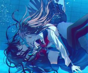 anime, yuri, and blue image