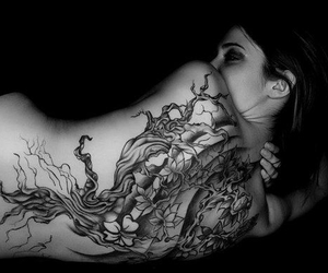 alternative, body art, and black and white image