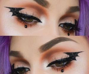 bat girl, halloween makeup, and costume image