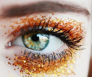 eyes, glitter, and orange image