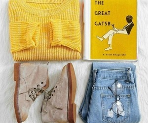 autumn, yellow, and jeans image