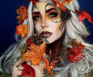 Halloween, leaves, and makeup image