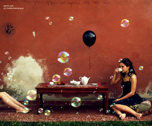 balloons, bubbles, and girl image