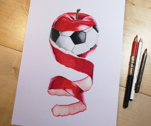 apple, draw, and fruit image