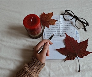 autumn, candle, and glasses image