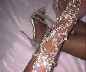 shoes, diamond, and heels image