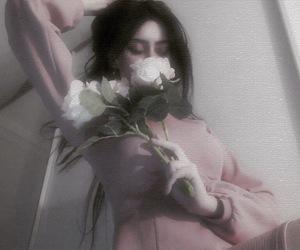 blackhair, dark, and flower image