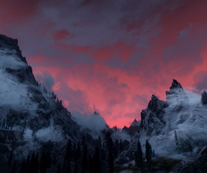 sky, mountains, and pink image