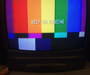 tv, rainbow, and kiss image