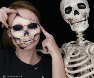 cosmetics, makeup, and skeleton image