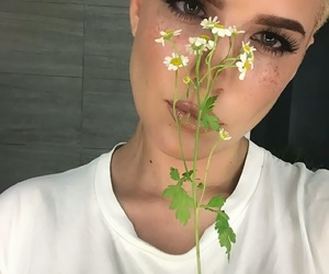 halsey, flowers, and makeup image