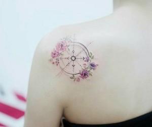 tattoo compass flowers image