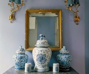 home decor, mirrors, and accent table image
