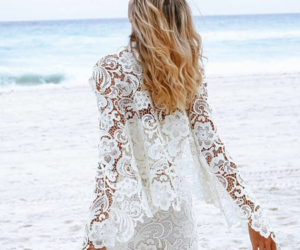 wedding, vestido de novia, and beach image