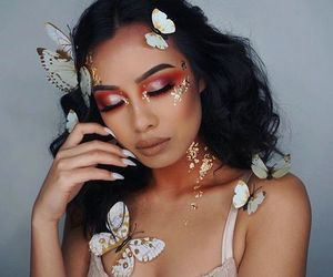 makeup, Halloween, and butterfly image